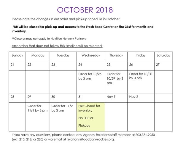 October Programs Newsletter Calendar Agency 2018
