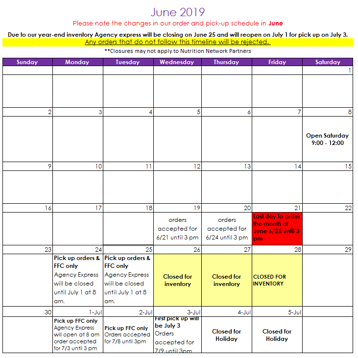 June 2019 Agency Calendar