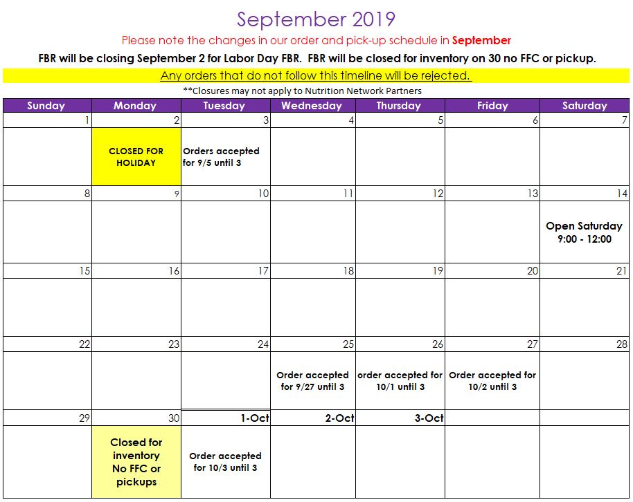 September Agency Calendar