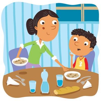 family at table cartoon